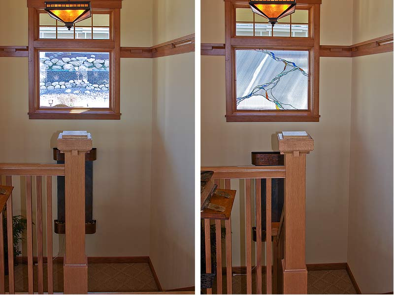 image of the stairwell window, before and after
